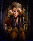 Contemplation, 3d CG. 3d computer graphics of a young woman with a fantasy outfit and a Mohawk hairstyle Royalty Free Stock Photo