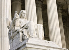 Contemplation of Justice. The Contemplation of Justice statue by James Earle Fraser, sculptor. This statue sits on the West fa�ade of the Supreme Court stock image