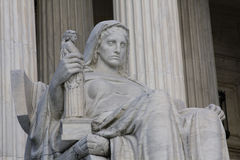 The Contemplation of Justice. Sculpture in front of The United States Supreme Court, Washington D.C stock image