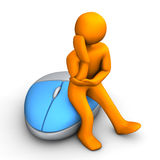 Contemplation PC Mouse. Orange cartoon character with optical pc mouse Royalty Free Stock Photos
