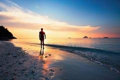 Contemplation on the tropical beach stock photos