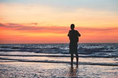 Contemplation on the tropical beach. Royalty Free Stock Photos