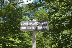 Contemplation Walk Park Sign Royalty Free Stock Images