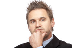 Contemplative businessman thinks on future Royalty Free Stock Photo