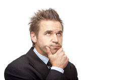 Contemplative Businessman thinks on problem Royalty Free Stock Image