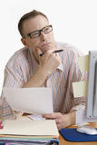 Contemplative Man Working from Home - Isolated Stock Photography