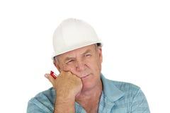 Contemplazione del caporeparto della costruzione Fotografie Stock