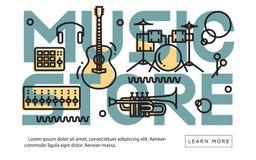 Contemporáneo de Minimalistic de la idea del equipo de Music Store libre illustration