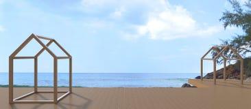 Contemporâneo da sala de estar da praia e opinião do mar bonita Imagem de Stock Royalty Free