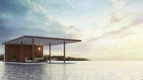 Contemporain de pavillon sur le rendu de la plage 3d Photos stock