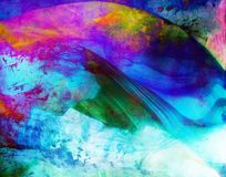 Contemporary Abstract textured artwork with blue wave. Purple, yellow and green colors Stock Photography