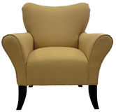 Contemporary Accent Chair. With Cherry Wood Legs Stock Photo