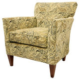 Contemporary Accent Chair. In Paisley Fabric Pattern Stock Images