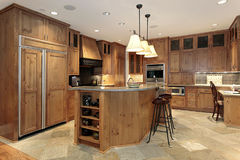 Contemporary all wood kitchen Royalty Free Stock Images