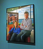 Contemporary Americans exhibit. Portrait of Bill and Melinda Gates by artist Jon Friedman. The painting is part of  the Contemporary Americans exhibit in the Royalty Free Stock Images