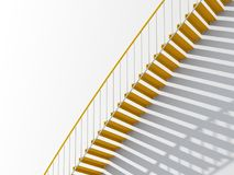 3d yellow metal stairs with shadow pattern. Contemporary architecture background, yellow metal stairs with shadow pattern over white blank wall, 3d illustration Stock Photo