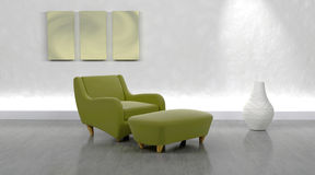 Contemporary arm chair. 3d render of contemporary arm chair and ottoman in modern setting Royalty Free Stock Photography