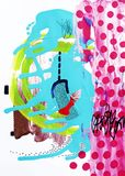 Contemporary art abstract painting, acrylic on paper. Original abstraction background stock illustration