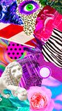 Fashion aesthetic moodboard collage. Mix textures and minimal objects