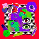 Contemporary art collage. Psychedelic concept. Mix texture and objects. Zine fashion design