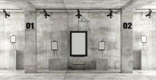 Contemporary art gallery. In a concrete room with easels and blank frame - 3d rendering Stock Image