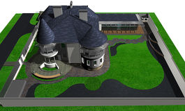 Contemporary сastle style house, 3D render Stock Photography