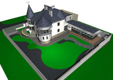 Contemporary сastle style house, 3D render Royalty Free Stock Image