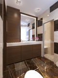 Contemporary bath with glass shower Royalty Free Stock Photos