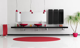Contemporary bathroom. Two modern red sink in a minimalist black and white bathroom - rendering Stock Photography