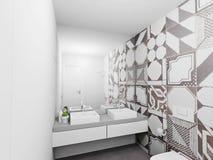 Bathroom interior render. Design interior of bright bathroom. 3D render Royalty Free Stock Images