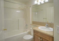 Contemporary bathroom with large mirror Stock Photo