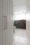 Contemporary Bathroom Of Mosaic Tiles And Walk In Shower Stock Photos