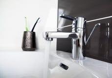Contemporary bathroom sink detail Stock Photo