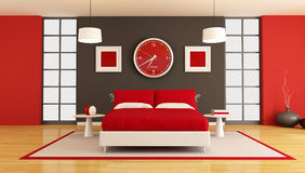 Contemporary bedroom royalty free stock photos