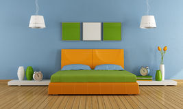 Colorful contemporary bedroom Royalty Free Stock Images