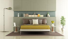 Contemporary bedroom with double bed Stock Photos