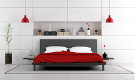 Contemporary bedroom with double bed Stock Images