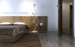 Contemporary bedroom idea. In brown color. Wall wooden decorations behind bed, crumpled brown carpet. 3D render Royalty Free Stock Images