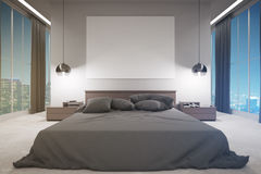 Contemporary bedroom at night Stock Images