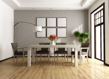 Contemporary dining room. Contemporary beige and brown dining room - rendering Stock Photography