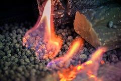 Contemporary biofuel on ethanol close-up. Energy saving innovati. Modern bio fireplot fireplace on ethanol gas. Smart ecological alternative technologies royalty free stock photo