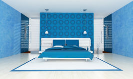 Contemporary blue bedroom Stock Image
