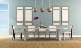 Contemporary blue dining room Stock Image