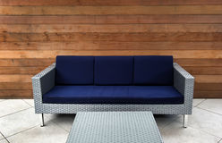 Contemporary Blue and Silver Outdoor Couch Stock Photography