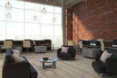 Contemporary brick coworking interior. Contemporary brick coworking office interior with city view and daylight. 3D Rendering Stock Images