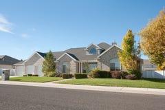 Contemporary Brick Home. A contempory brick home in a subdivision stock images