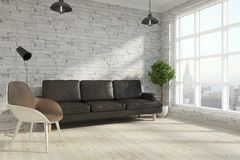 Contemporary brick living room royalty free illustration