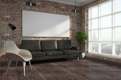 Brick living room with empty poster vector illustration