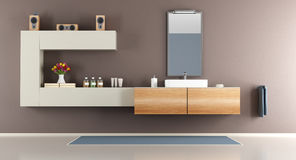 Contemporary brown bathroom Stock Images
