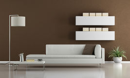 Contemporary brown living room Stock Photography